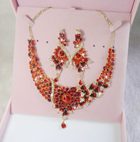 Wholesale Hot India crystal RHINESTONE red Wedding party BIRDE Jewelry Sets Top Elegant New Arrival bride fashion