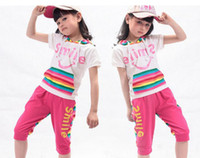 Wholesale 2014 New Arrival Children s Rainbow Clothing Girl s Casual Suits Short Sleeve Ware Striped Hoody th pants Outfit Korean Style M0325