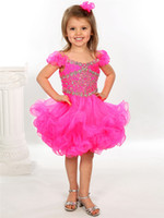 Wholesale 2014 New Fashion Ruched Shoulder Crystal Girl s Pageant Dresses Formal Mini Short Skirt Rosie Baby Infant Little Kids Ball Gowns Cupcakes