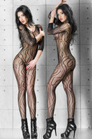 Wholesale 2014 Sexy Dynamic Lace Mesh Bodystocking Fishnet Lingerie Sets D79435 Ladies Intimate Sleepwear Dress Long Sleeve Open Crotch Body Stocking