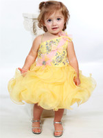 Wholesale 2014 Newest Fashion Single Shoulder Crystal Girl s Pageant Dresses Formal Mini Short Skirt Baby Infant Little Kids Ball Gowns Cupcakes