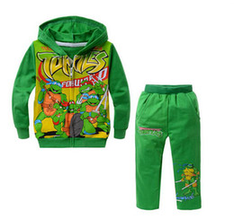 Wholesale Autumn new Teenage mutant ninja turtles children suit Green cotton baby clothes Long sleeve long pants Cartoon cap unlined upp