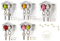 Wholesale EMS Sets DUO Sparrow Key Ring with Birdhouse Keychain Gadget for Home Decoration