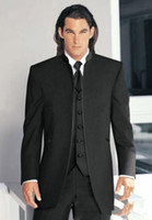 Wholesale HOT SALE Black Groom Tuxedos Stand Collar Best Man Suits Wedding Groomsman Men Wedding Suits Bridegroom Jacket Pants Tie Vest