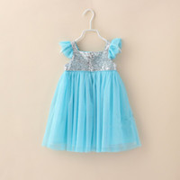 Summer baby flies - Hot Sale Summer Baby Dress Fly Sleeve Sequins Chiffon Girl Princess Dresses Flower Girl Wedding Dresses Children Party Dress GX695