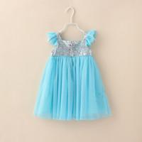 Wholesale Hot Sale Summer Frozen Baby Dress Fly Sleeve Sequins Chiffon Girl Princess Dresses Flower Girl Wedding Dresses Children Party Dress GX695