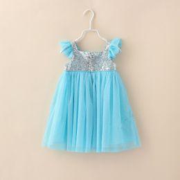 Hot Sale !Summer Baby Dress Fly Sleeve Sequins Chiffon Girl Princess Dresses Flower Girl Wedding Dresses Children Party Dress GX695