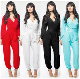 2016 Fashion Women Long Jumpsuits Suit Pant Sexy V-neck Loose Jumpsuit Siamese Rompers Bodycon Party Dress Casual Ladies Girl Jumpsuits YQ27
