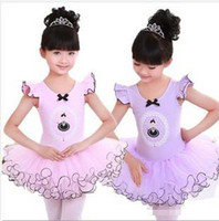 2-7T ballet performance dress - Children Girls Clothing Cotton Puff Gauze Cotton Lycra Ballet Dress Dance Performance Wear Stage Costume Clothing Pink Purple K0156