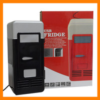 Wholesale Cheap MINI Portable USB PC Fridge Car Refrigerator Heater Beer Juice Warmer Cooler with LED Indicator In Stock