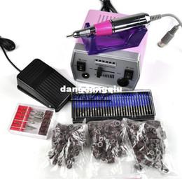 Wholesale sets Electric nail drill New Nail Art tool File Improved Overheat Vibration manicure set EU US Plug