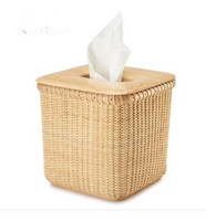 Wholesale Nantucket basket Smoke box rattan weaving tissue box creative European household rural household wood tissue napkin box