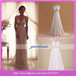 Wholesale 2014 Vintage Modest A Line White Champagne Lace Beaded Crystal Wedding Dress Sweetheart Empire Backless Sweep Train Hot Sale Bridal Gowns