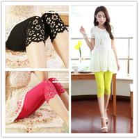 Wholesale NEW summer women fashion colour lace Shorts Leggings trousers Mid Calf Pants Capris Stretch Legging QY41