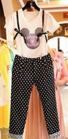 Wholesale 2014 Hot Sell Arrival Europe Women Sets Dot Cartoon Lace Cotton Braces Suit Ladies Round Neck Short Sleeve Casual Shirt Pants E0206