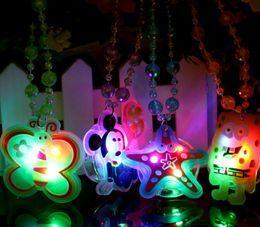 online shopping Free Ship cm D Cartoon Fashion LED Flashing Glow Silicone Necklace Beads LED Glow Pendant Party Disco Wedding Gift Toy