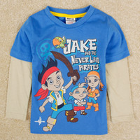 Wholesale Baby boy cartoon t shirts long sleeve Jake and the Neverland pirates clothing nova kids costume new winter childrens clothes A5138Y