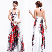 Wholesale Printed Satin Halter Prom Dress HE09614WH Ever Pretty Sexy V neck Floral Printed Satin Halter Formal Evening Dress