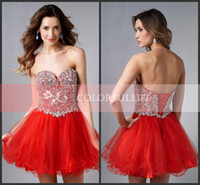 Reference Images Tulle Sweetheart 2014-2015 Hot Red Sweetheart Ball Gown Blingbling Homecoming Dresses Sexy Backless Crystal Beads Corset Short A Line Cocktail Prom Gown E450