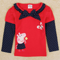 Wholesale Cute baby girl clothes cartoon peppa pig girls long sleeve t shirts nova brand new design shirt kids winter clothing with bow F5235