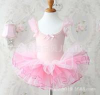 ballet performance wear - Children s Kids Clothes Girls Cotton Glitter Shinning Puff Sleeve Gauze Ballet Dress Dance Performance Wear Pink White Butterfly Knot K0160