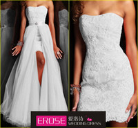 Wholesale 2014 A Line Floor Length Sweetheart Appliques Court Train Two Piece Amazing Wedding Dress