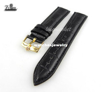 Wholesale mm New Stainless Steel Gold Plated Pin Buckle Black Crocodile Grain Genuine Leather Watch Bands strap For ROL74