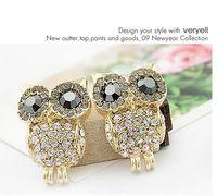 Wholesale E0111 delicate full drill the owl earrings earrings personality girl earrings earrings