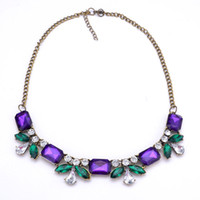 Beaded Necklaces Women's Fashion XL506 retro bohemian purple imitation Diamond Flower Short clavicle chain necklace&pendant female