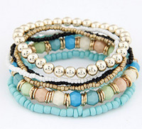 Wholesale 2014 Promotion Bohemia Style Fashion Elastic Beads Multi layer Bracelet colors min
