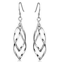 Wholesale 925 sterling silver earrings The leaves of earrings Long tassels pair