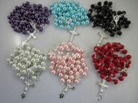Wholesale White glass Rosary Cross Bead Chain Necklace with clasp Imitation Pearl Necklaces gift for women free ship