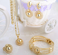 Jewelry Sets Gold Non-Stone Free Gift!!! 2014 Hot Sale Jewelry Necklace Bangle Earrings Ring Wedding Accessories Jewelry Sets