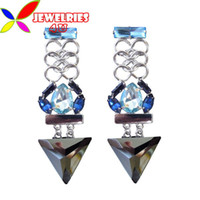 Stud Women's Stud Earrings 2013 punk earrings for women fashion blue teardrop stone vs black triangle dangle rings linked statement earstuds dropshipping