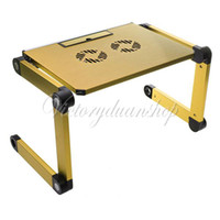 Metal School Furniture Computer Desk Portable Gold 360 Degree Foldable Folding Adjustable Laptop Notebook Table Stand Desk Cooling Fan Pad Free Shipping