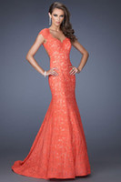 Cheap Wonderful Mermaid Coral Prom Dresses V-Neck Short Cap Sleeve Backless Lace Chapel Trailing Evening Gown Top Sale