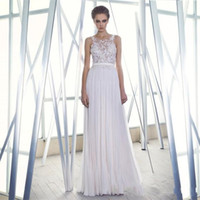 A-Line Reference Images Scoop Luxury Sheer Neck Boho Long With Lace Formal Backless Chiffon Pleated 2014 Beach Bohemian Bridal Dresses Sexy Cheap Wedding Gowns Ball Dress