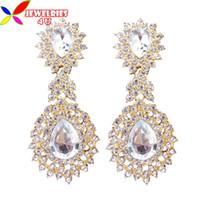 fashion jewelry dropship - 2013 woman earrings fashion gorgious shinning crystal waterdrop dangle goden stud earing jewelry dropship