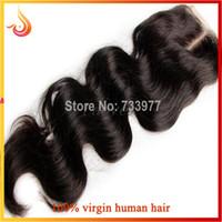Wholesale Middle part lace closure piece human remy hair weave body wave quot quot Brazilian lace closure