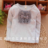 Girl Summer Standard 2014 Real Picture ,New South Korean Style ,Little Gril ,Baby Girls Long Sleeve T- shirts , 0-3year Chest Bow Tee kk66