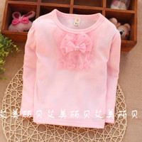Girl Summer Standard 2014 Kids Clothes New South Korean Style Little Gril ,Baby Girls Long Sleeve Shirt T- shirts Baby 0-3year Chest Bow Tee kk66