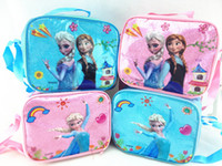 Wholesale 201407H frozen crystal pink lunch bag ice bag diagonal shoulder bag school bag Children s lunch boxes