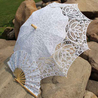 Wholesale Royal Vintage Battenberg Lace Parasol Sun Umbrella amp Fan in White Ivory Handmade for Wedding High Quality