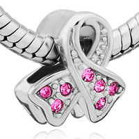 cancer ribbons - New arrival silver Breast Cancer Awareness Pink Ribbon European Charm Bead for pandora style Compatible CP0730
