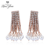 Wholesale Elegent rose gold full drill crystal tassel earrings unique pearl tassel earrings for women
