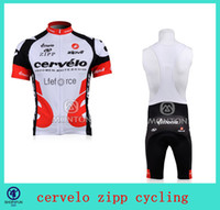Wholesale Top short sleeves bid cycling jersey cervelo zipp cycling team jersey fashion men s cycling jersey bib shorts