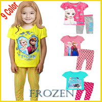 Girl Spring/Autumn 90 95 100 110 120 130cm=2-7Years Summer And Autumn Baby Girls Frozen Pajamas Sets Kids Anna Elsa Princess Pajamas Children 2014 Clothes Cotton 2Piece Suits Random GD-ZS037A