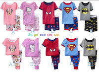 Wholesale Hot Sales styles choose Superman Cat Spider Man Batman Trousers Shorts T shirt Children tracksuit Pajamas
