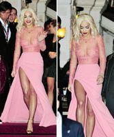Wholesale Newest Sexy Pink Split Bandage Dress Hollow Lace Spliced Bodycon Evening Dress Fashion Celebrity Party Bandage Dresses J65