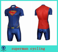 Wholesale 2014 TOP superman cycling jersey set blue red color cycling jerseys short sleeves with bib or withou bib two choices